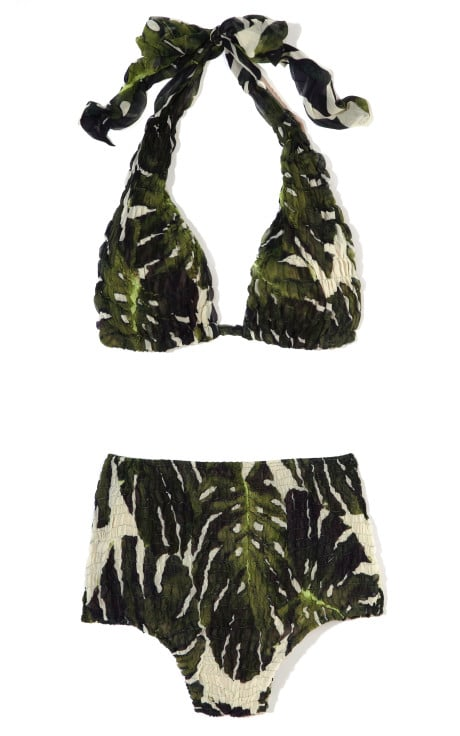 Tropical print in the most retro-glam way — we love this figure-flattering Adriana Degreas Hot Pants Silk Bikini ($470).