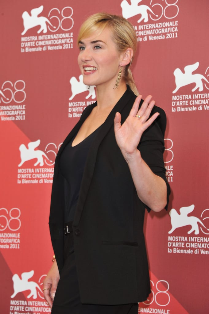 Kate Winslet in black at the Mildred Pierce photocall in Venice.