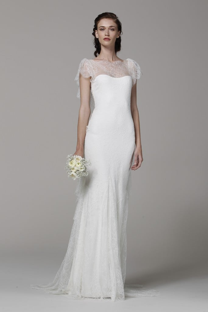 """Marchesa never disappoints with its gorgeous gowns, but this particular sleek lace-overlay gown is absolutely breathtaking. It instantly reminds me of Audrey Hepburn and Grace Kelly, evoking a sense of sophistication and classic beauty that I wouldn't mind channeling on my big day."" — Marisa Tom, associate editor"