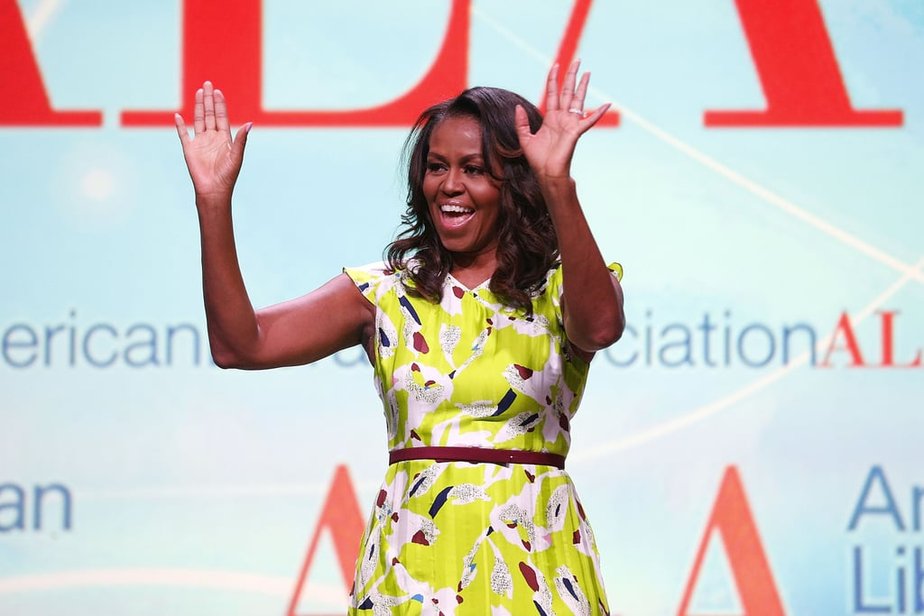 Michelle Obama Green Printed Dress June 2018