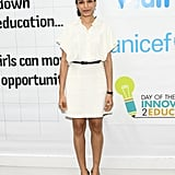 Freida Pinto looked fresh in a white dress at the unveiling of a fresco entitled Day of the Girl in Hollywood.