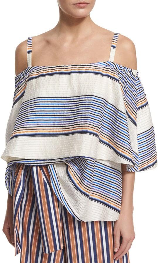 Tanya Taylor Apparel Ione Textured Boxy Cold-Shoulder Top ($450)