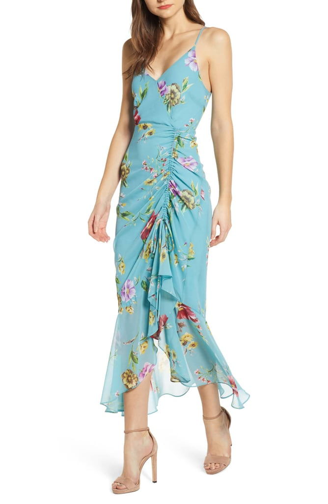 Astr the Label Floral Ruched-Front Maxi Dress
