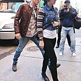 Katy Perry and John Mayer made their way down the street.