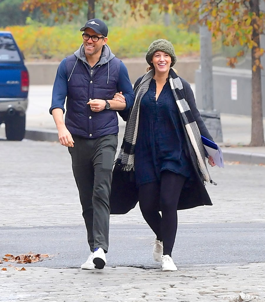 Blake Lively and Ryan Reynolds were all smiles in NYC after welcoming their third child over the Summer. On Oct. 29, the couple — who celebrated their seventh wedding anniversary this past September — appeared to be in great spirits as they strolled arm in arm around the Big Apple. Blake and Ryan flashed big smiles, and they didn't seem to mind the cold weather as they bundled up in sweaters and hats. The outing marks the first time we've seen Blake and Ryan together since they became a family of five. Baby Reynolds joins the couple's two other daughters, 3-year-old Inez and 4-year-old James. Blake and Ryan have yet to reveal the tiny tot's name, but the actor did seemingly confirm that they welcomed another baby girl and gave us a glimpse of her on Instagram earlier this month. Congrats to Blake and Ryan on their growing family!      Related:                                                                                                           Blake Lively's Birthday Message For Ryan Reynolds Is Equal Parts Sweet and Silly
