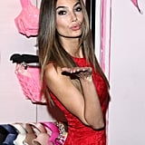 Lily Aldridge struck a sexy pose at a Valentine's Day event at Victoria's Secret in NYC.
