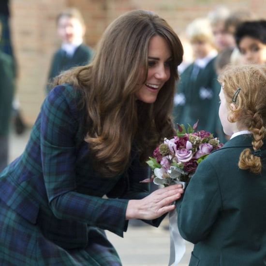 Kate Middleton Plays Hockey At School In Plaid Coat