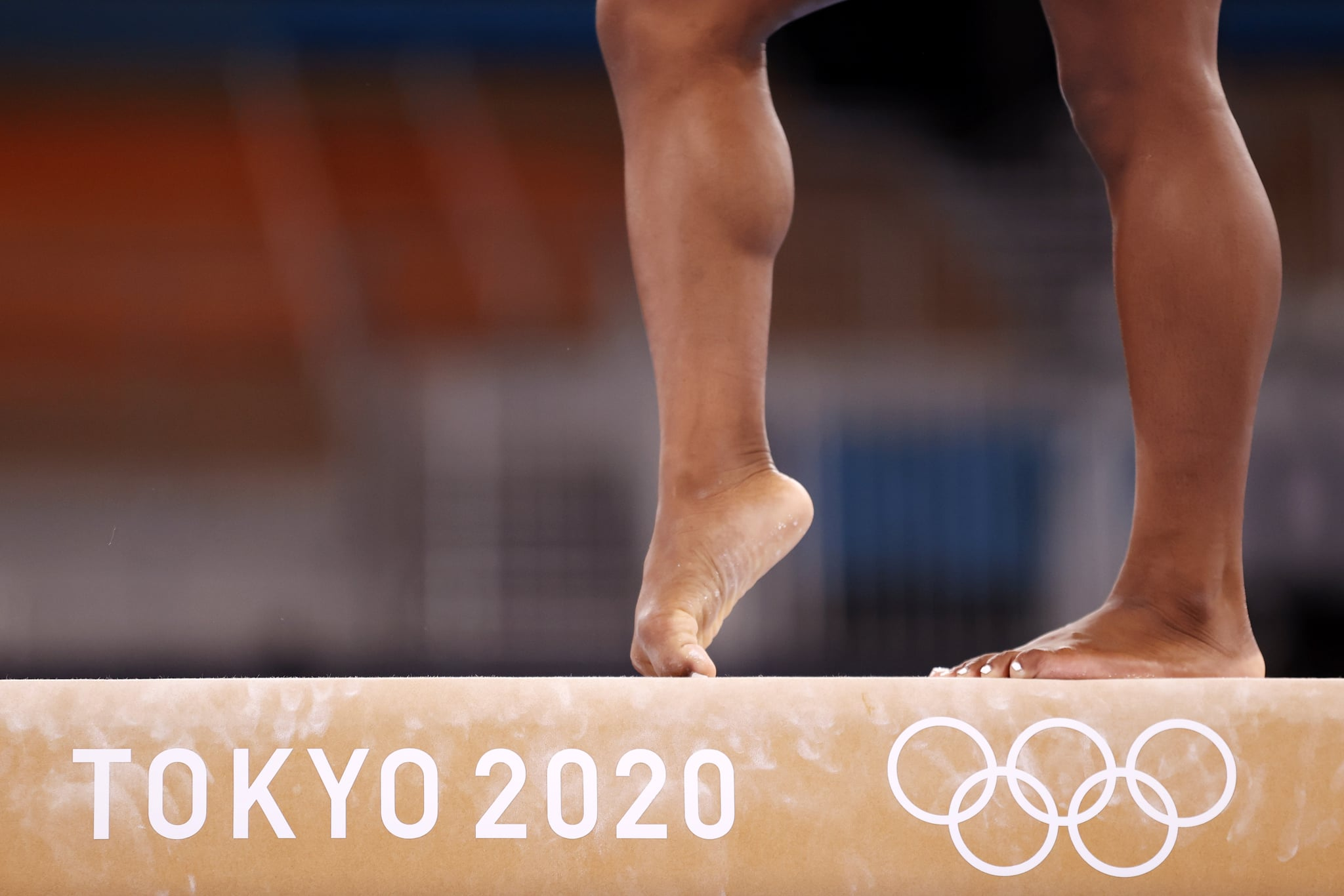 TOKYO, JAPAN - JULY 22: A detail as Simone Biles of Team United States trains on balance beam during Women's Podium Training ahead of the Tokyo 2020 Olympic Games at Ariake Gymnastics Centre on July 22, 2021 in Tokyo, Japan. (Photo by Jamie Squire/Getty Images)