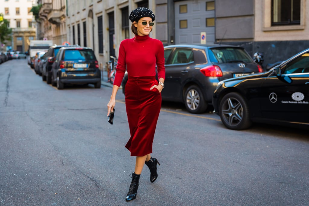 With a Parisian Chic Look, Topped With a Beret