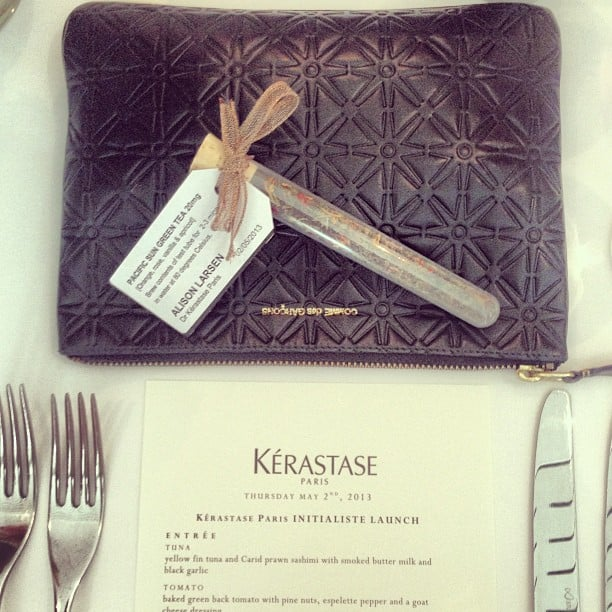 Alison loved the cute place settings at a Kerastase lunch during the week.