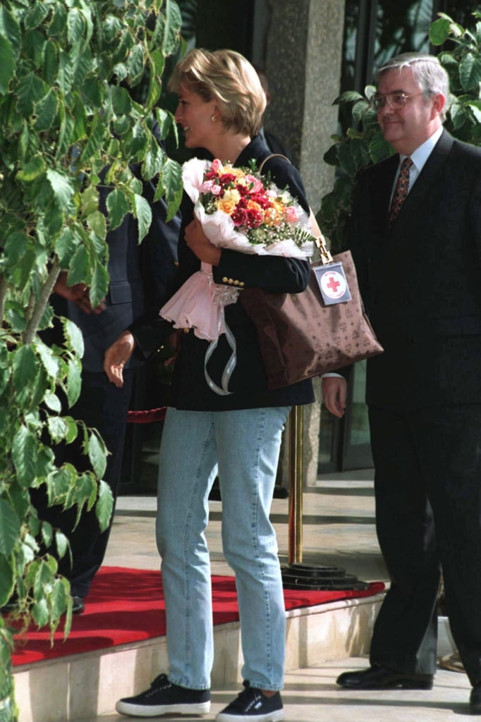 Princess Diana Wearing Her Superga Kicks During a Visit to Angola in 1997