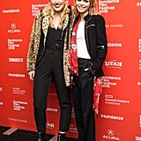 She also posed with her equally fashionable costar Harley Quinn Smith, who wore a black jumpsuit and leopard coat.