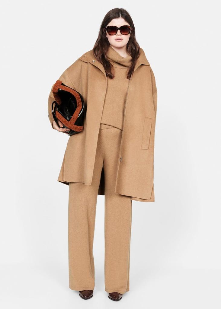 Mango Cashmere Set and Faux-Shearling Bag