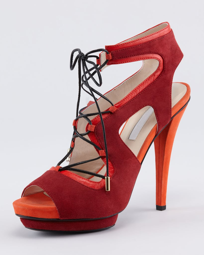 In the coolest shades of coral, red, and orange — we're looking to Burak Uyan's tone-on-tone sandal ($995) for a double dose of sexy lace-up detailing and a colorful pop.
