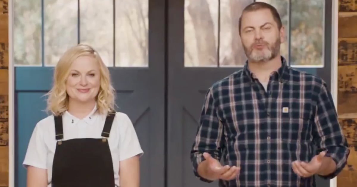 amy poehler nick offerman parks and rec anniversary video popsugar celebrity australia. Black Bedroom Furniture Sets. Home Design Ideas