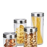 Diamond Home Stainless Steel & Glass Storage Canister 6-Piece Set