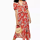 Topshop Floral Ruffle Midi Dress