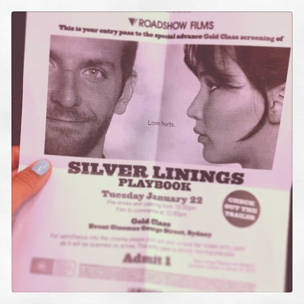 Jess went and saw the much-hyped Silver Linings Playbook and said it was great, and that the performances by Jennifer Lawrence and Bradley Cooper are amazing.