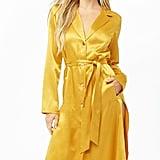 Forever 21 Belted Satin Shirt-Dress