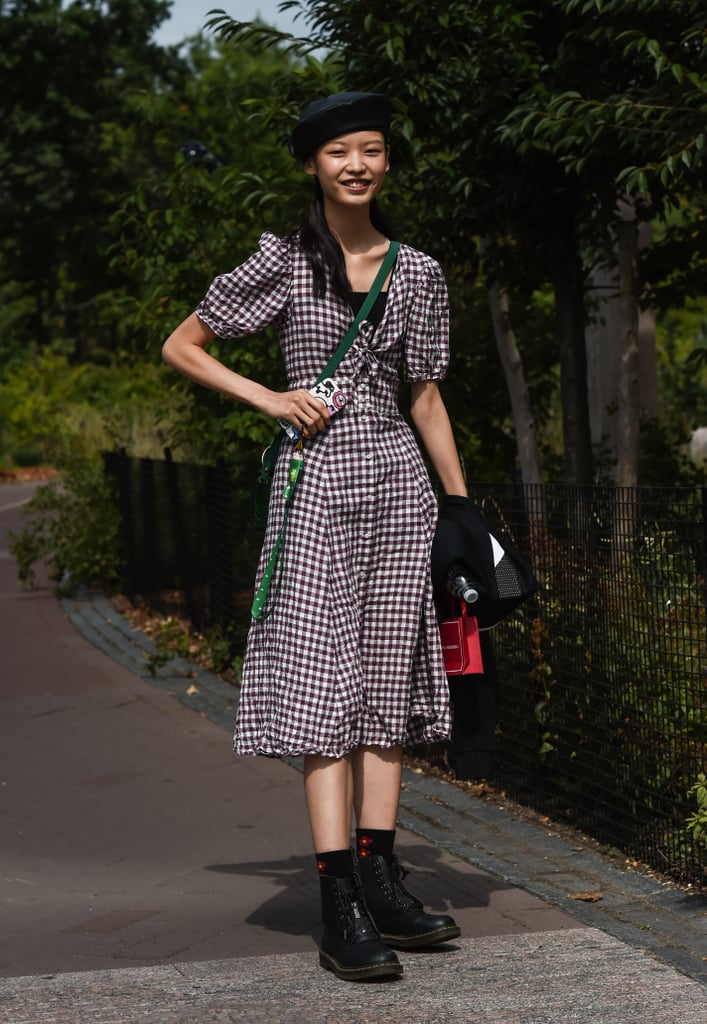 Channel all things '90s with a plaid or checked dress and creeper-style boots.