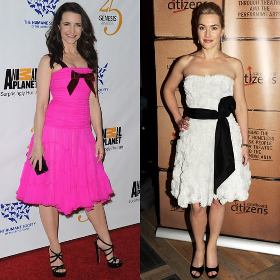 Kristin Davis and Kate Winslet Wear Girly Dresses to Events in California and London.