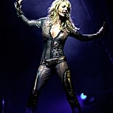 Britney wore a bodysuit in front of a crowd in NY in November 2001.