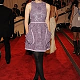 Mulligan channeled her inner girlie-girl in a lavender floral appliqué Miu Miu dress at the 2010 Met Gala in NYC.