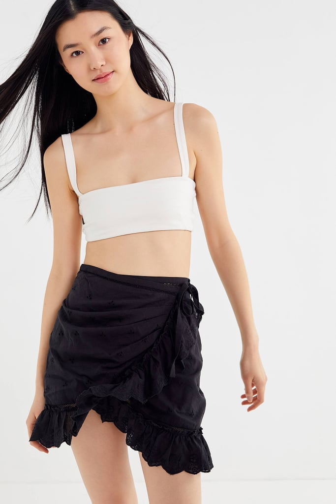 UO Faye Eyelet Ruffle Wrap Skirt