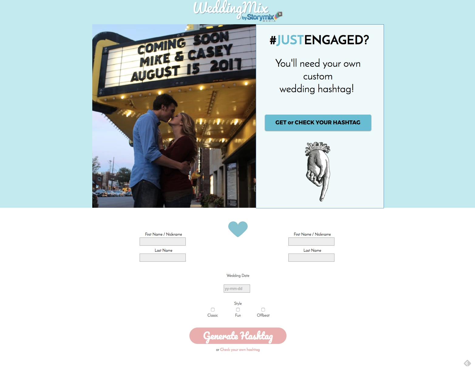b4f7caf2b0d21362 Screen Shot 2017 03 16 at 4.43.02 PM This Website Will Create a Free Wedding Hashtag in Seconds