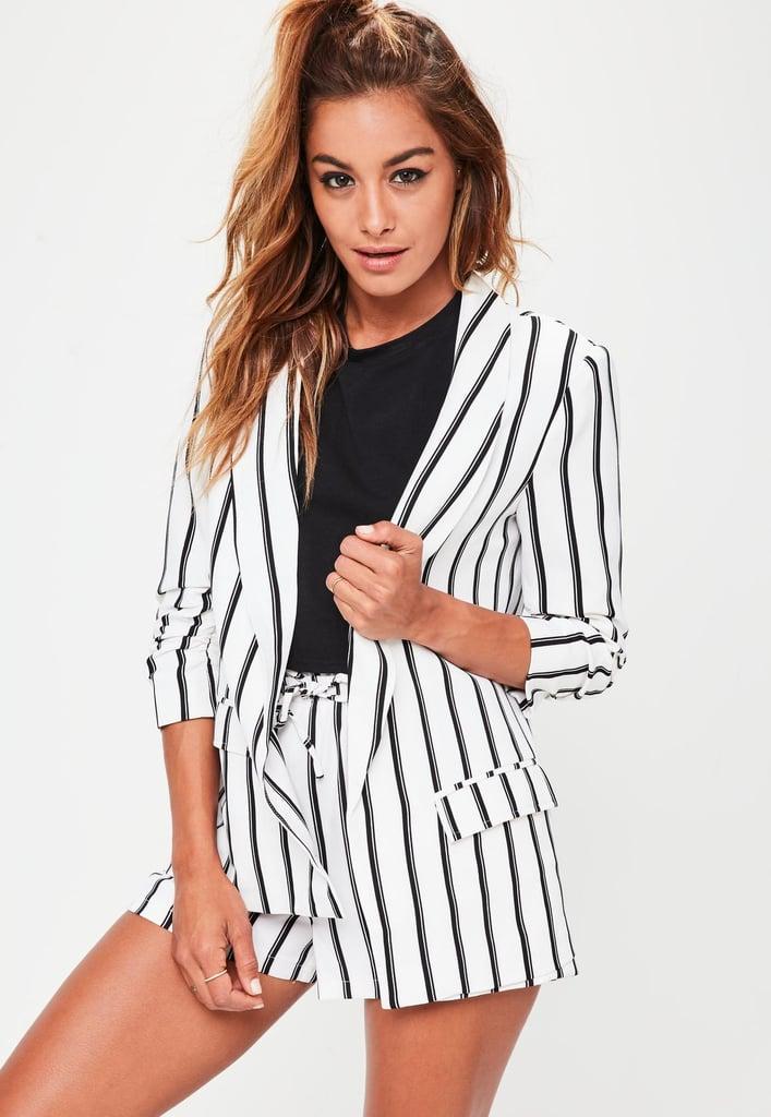 Missguided White Striped Gathered Sleeve Blazer