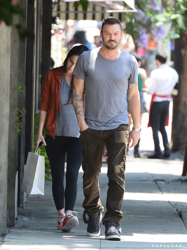 Brian Austin Green led the way for Megan Fox as they left Little Dom's in Los Feliz yesterday. The pair are fans of the restaurant's Italian-American menu and have been spotted frequenting the spot. Megan and Brian stepped out in matching gray t-shirts, but earlier this week she modeled a body-hugging minidress. Megan's reportedly pregnant and the tight ensemble showed off a small baby bump. It's a big month for Brian and Megan, who are also celebrating their second anniversary. The pair surprised everyone when they secretly tied the knot in Hawaii two years ago and Brian said they're planning to return to the islands this Summer.