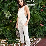 Olivia Culpo wearing a lightweight jumpsuit at the POPSUGAR x CFDA brunch.
