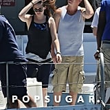 Kristen Stewart filmed scenes for her new film on a boat in LA on Wednesday.