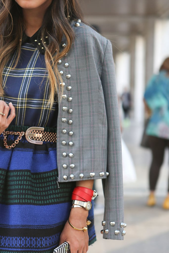 Military-inspired details were at work in this accessory mashup, plus a touch of color on a standout cuff.