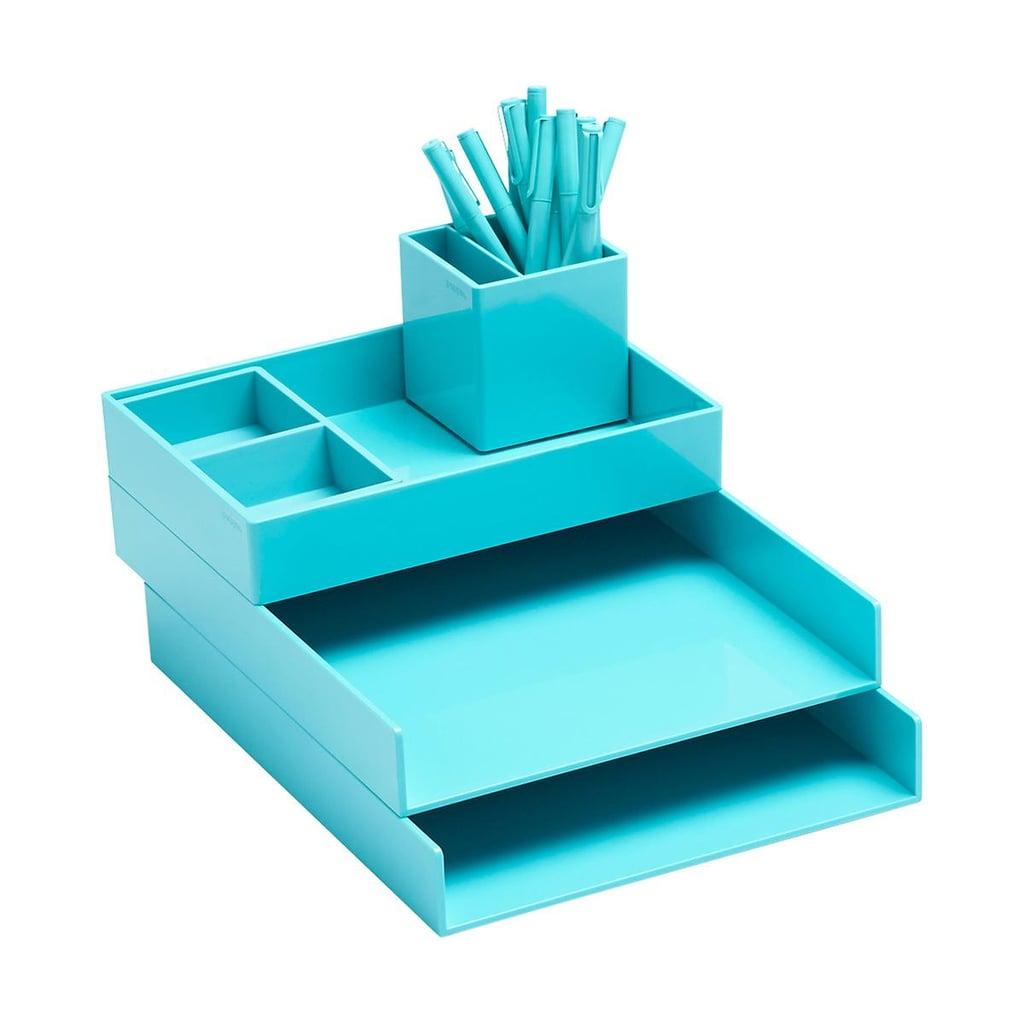 Aqua Poppin Letter Tray Storage Kit