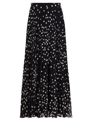 Stella McCartney Polka-Dot Pleated Chiffon Midi Skirt