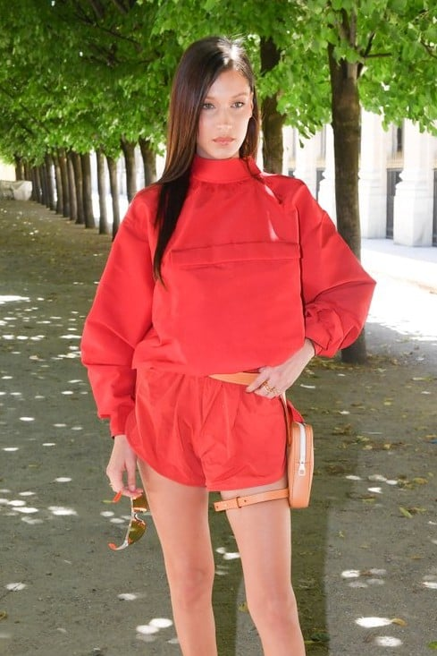 Bella Hadid Red Shorts Louis Vuitton Show in Paris