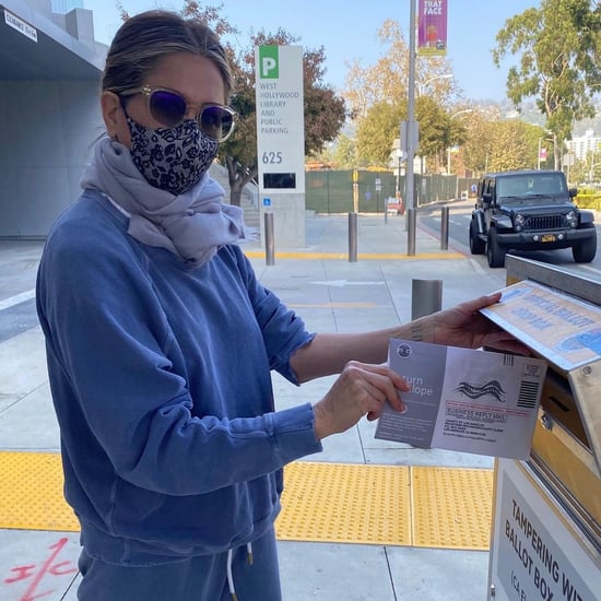 Jennifer Aniston Wore a Blue Sweatsuit and Face Mask to Vote