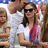 Ben Affleck and Jennifer Garner Take Their Patriotic Girls to a Fourth of July Parade