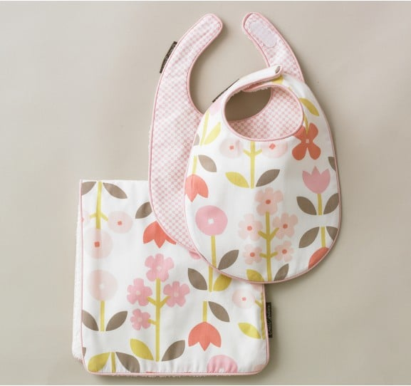 For a Baby Girl: Dwell Studio Rosette Blossom Bibs/Burp Set