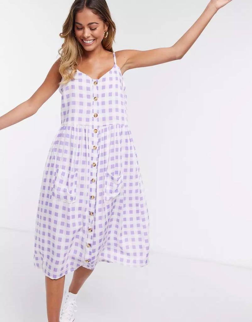 Daisy Street Midi Cami Dress in Gingham