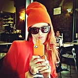 Coco Rocha matched her jacket to her hat to her cell phone cover. Source: Instagram user cocorocha