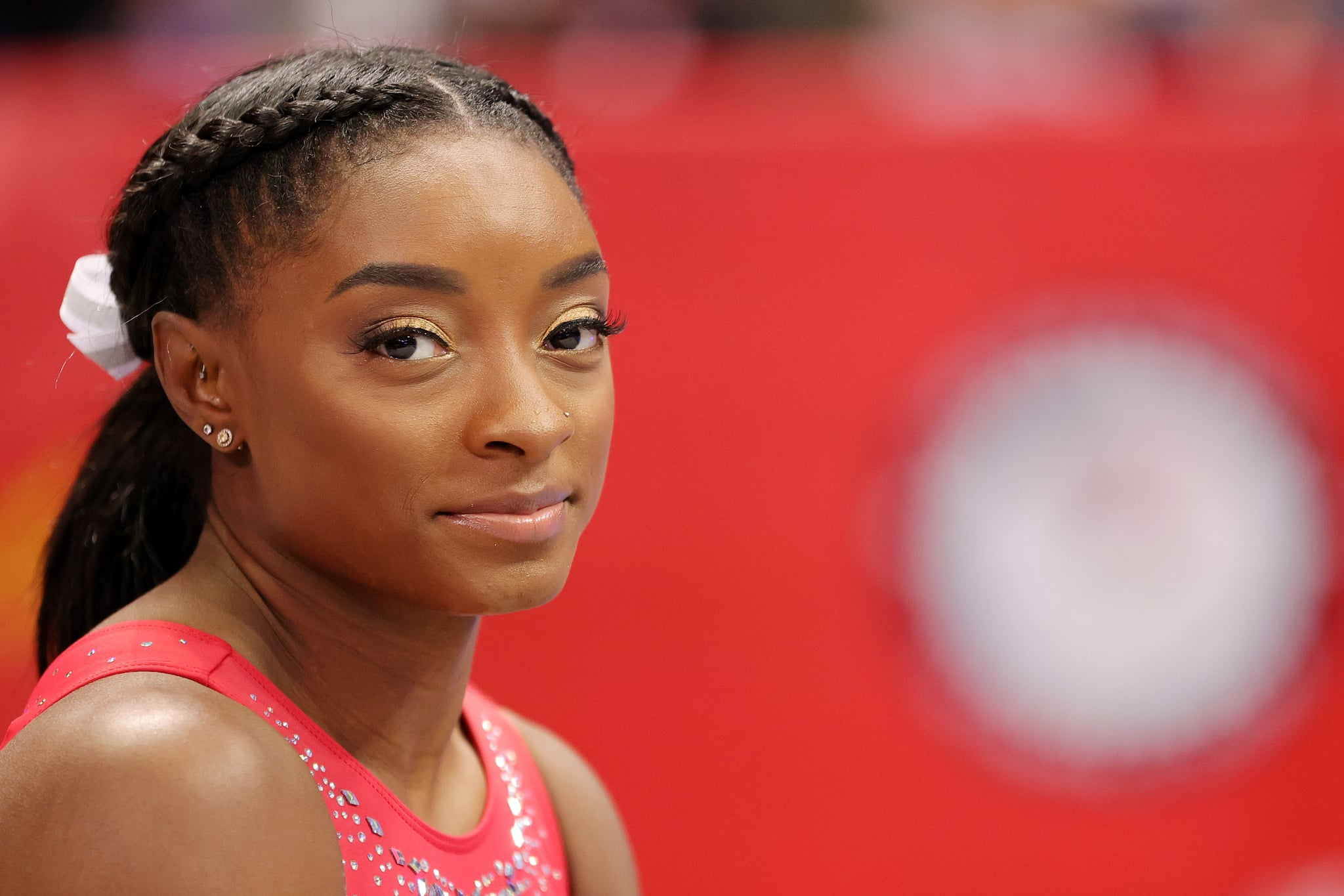 ST LOUIS, MISSOURI - JUNE 27: Simone Biles looks on during warm ups prior to the Women's competition of the 2021 U.S. Gymnastics Olympic Trials at America's Center on June 27, 2021 in St Louis, Missouri. (Photo by Carmen Mandato/Getty Images)
