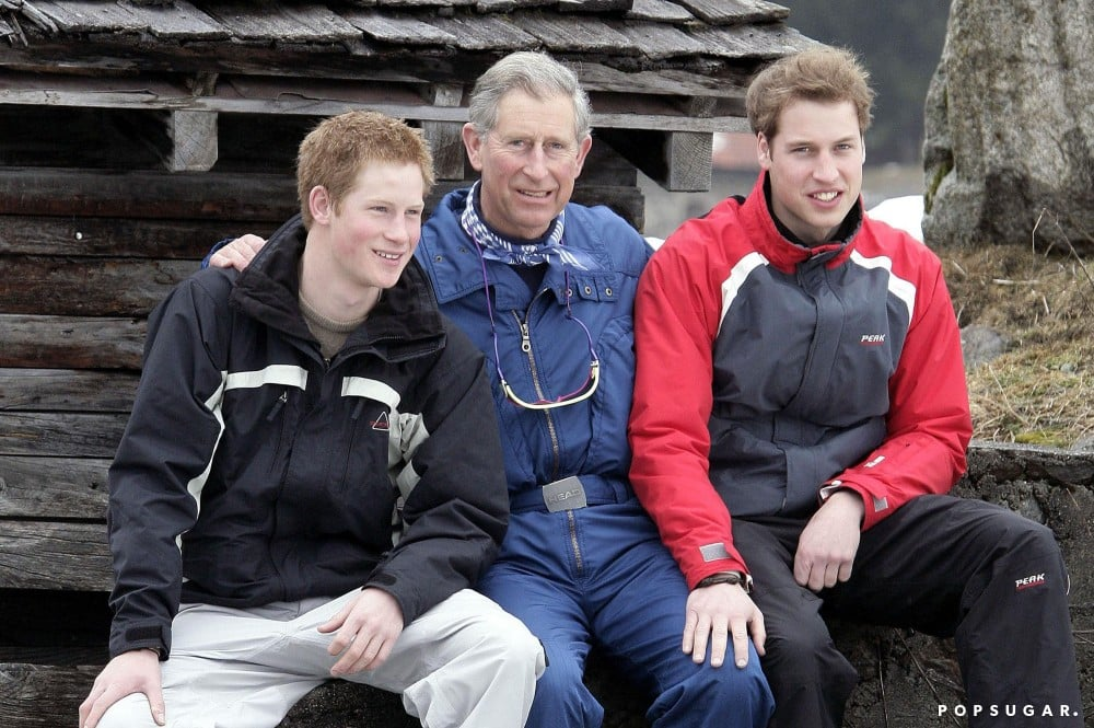 Prince Harry and Prince William sat with Prince Charles during a family ski trip to Klosters in Switzerland back in April 2005.