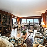 The apartment is currently decorated in a baroque, rich style.