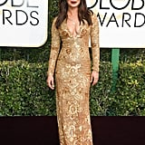 She Wore an Ornate Ralph Lauren Dress With a Plunging Neckline to the 2017 Golden Globe Awards