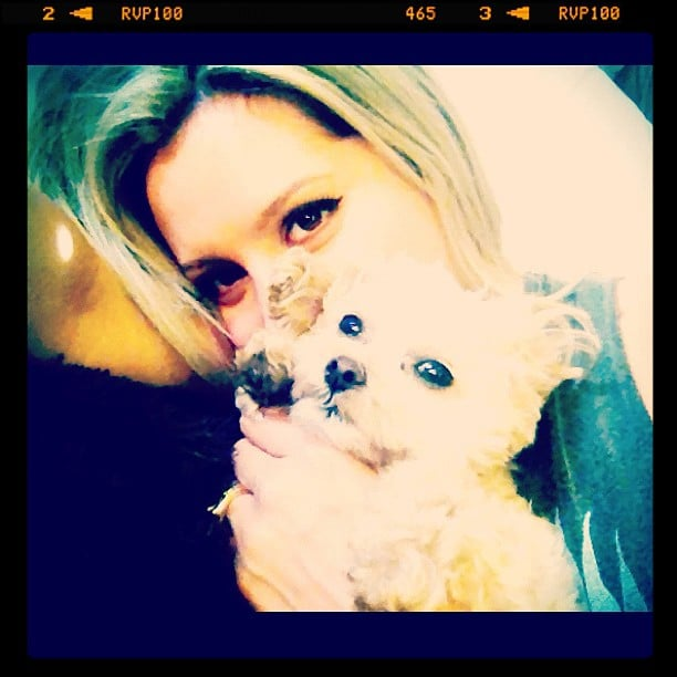 Ashley Tisdale cuddled with her puppy. Source: Instagram user ashleytis