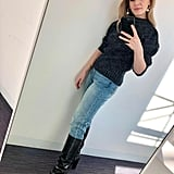 How I Styled My Straight-Leg Jeans: With a Sweater, Knee-High Boots, and Earrings