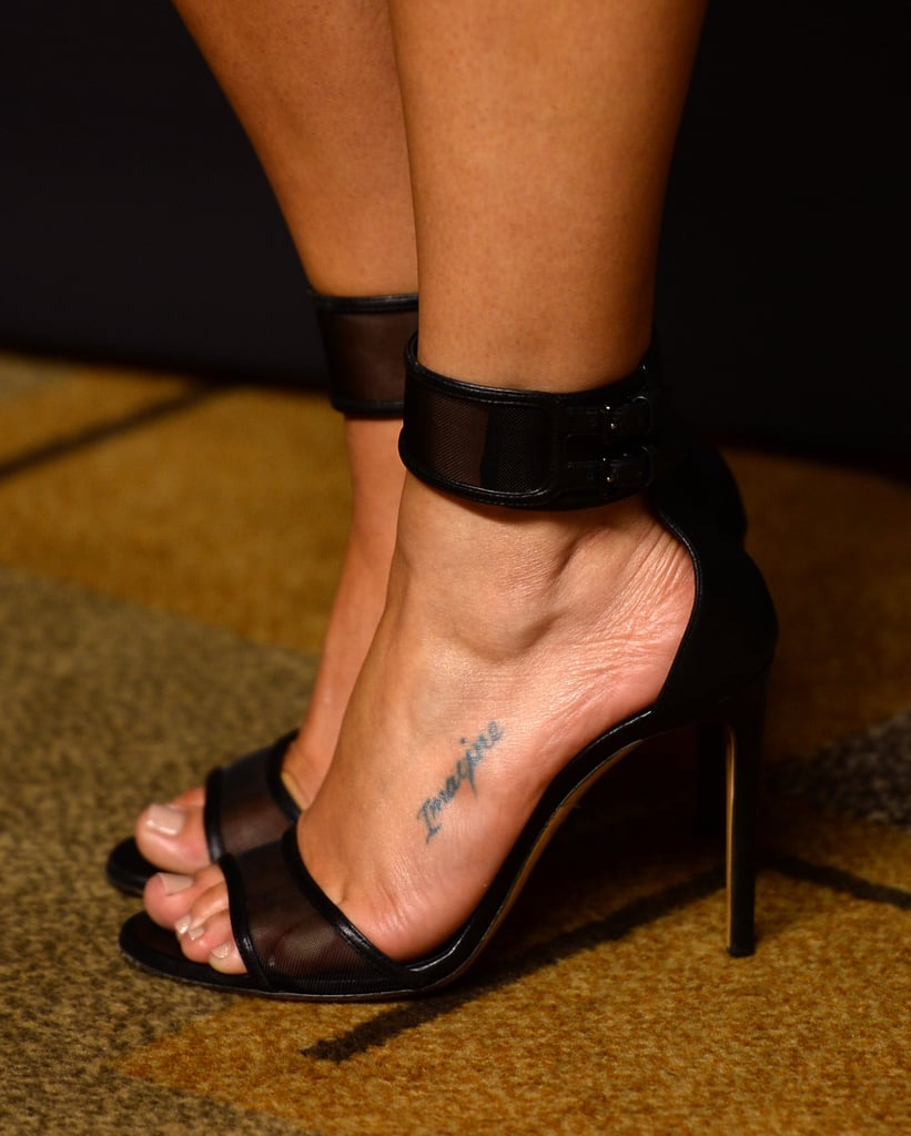 "Lea got the word ""Imagine"" inscribed on her left foot with her former Glee costars, Jenna Ushkowitz and Kevin McHale."