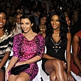 Kim Kardashian sat front row at the Tracy Reese runway show with Gabrielle Union, Ciara, and Kelly Rowland during New York Fashion Week in September 2009.